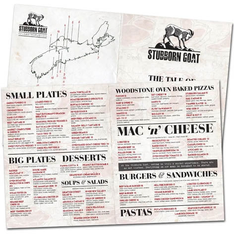 The Stubborn Goat Gastropub Food Menu