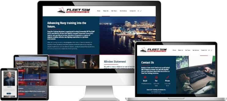 Fleet Sim Training Solutions web design sample